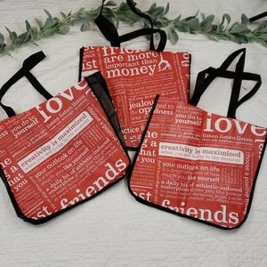 Lot of 3 Lululemon Large Reusable Bags Red